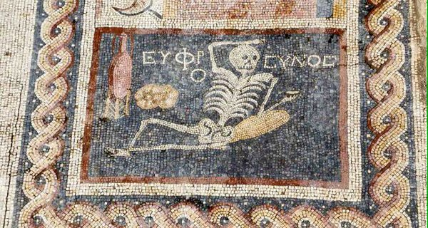 Archaeologists find 2400 year old mosaic of a skeleton drinking wine photo