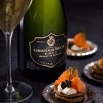 Smoked salmon blinis with créme fraîche and caviar photo