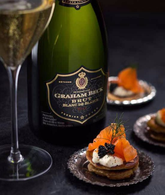 smoked salmon blinis with cr me fra che and caviar. Black Bedroom Furniture Sets. Home Design Ideas