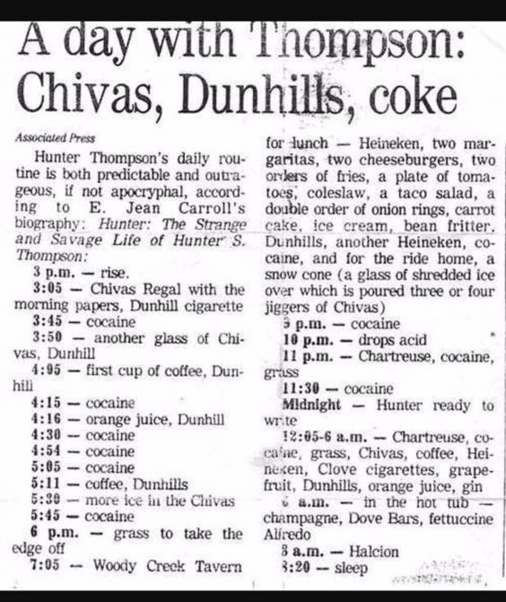 hunter The daily booze and drug routine that kept Hunter Thompson dazed for days