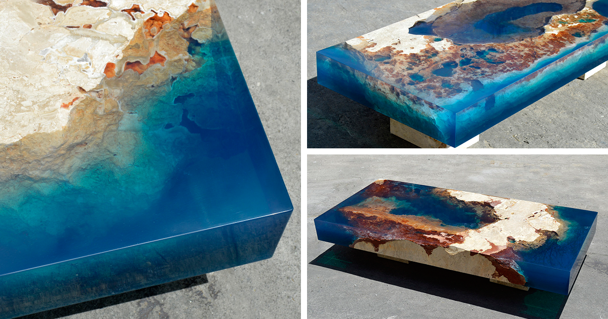Ocean Coffee Tables That I Made By Merging Natural Stone And Resin photo