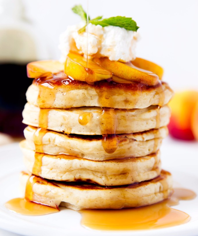 Bourbon Soaked Peach Pancakes photo