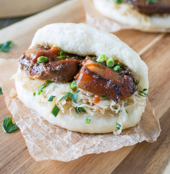 Pork Cheeks and Sauerkraut Bao Buns photo