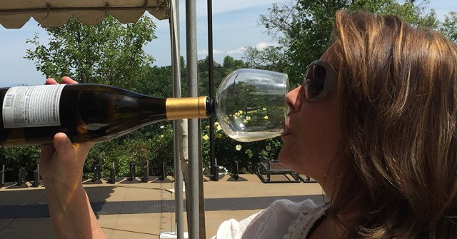 The Guzzle Buddy turns your wine bottle into a wine glass photo