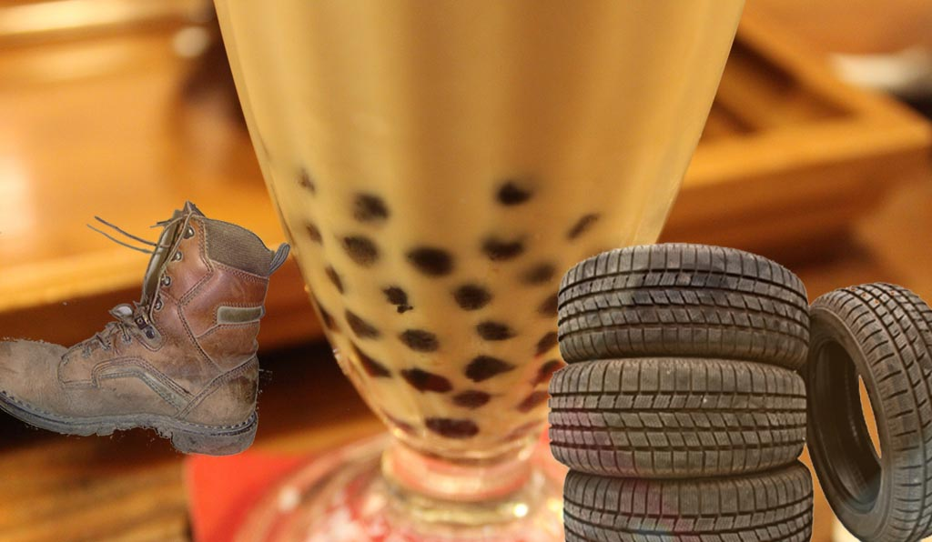 Fake Chinese bubble tea pearls made from old tyres, shoe soles photo