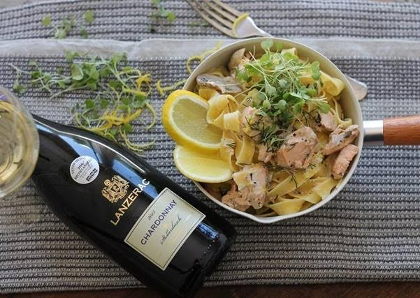 Creamy Salmon Pasta and Zesty Chardonnay photo