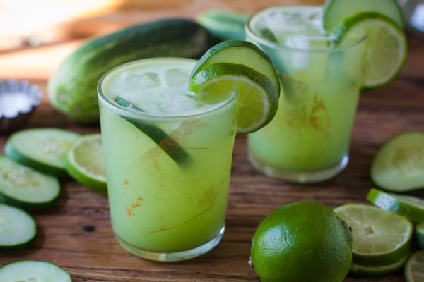 Tangy Tequila Cocktail with Cucumber and Lemon photo