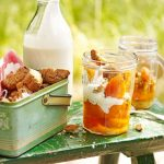 Booze-infused Apricots with Biscotti and Cream photo