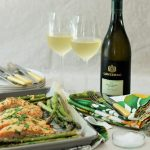 Parmesan crusted salmon with asparagus and Sauvignon Blanc photo