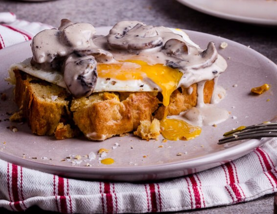 Bacon Corn Bread Breakfast with Creamy Mushrooms photo
