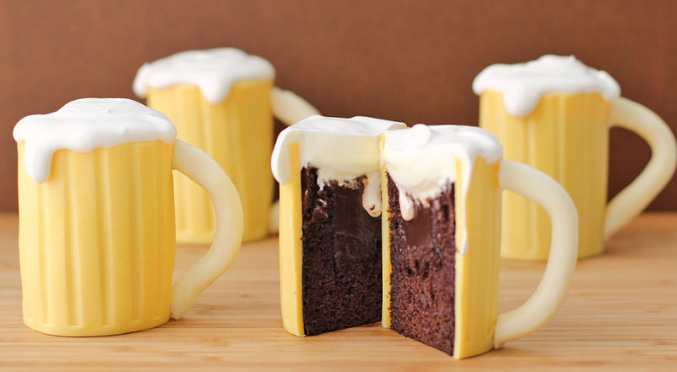 Beer Mug Cupcakes filled with Baileys photo