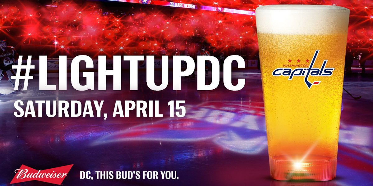 The Caps Will Be Giving Away Budweiser Goal Light Beer Cups To The First 10,000 Fans In Attendance For Game Two photo