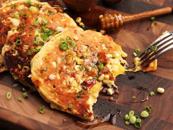 Savory Bacon and Cheddar Pancakes With Corn and Jalapeno photo