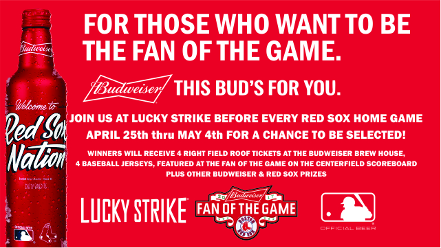 Visit Lucky Strike On This Red Sox Homestand For Chance To Win Budweiser Fan Of The Game photo