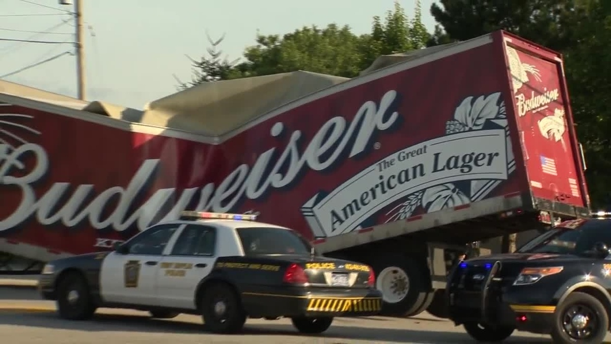 Freak Accident Leaves Budweiser Truck Looking Like Crushed Beer Can In West Mifflin photo