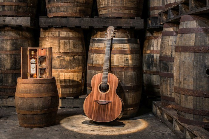 New Bushmills Whiskey Barrel Guitar Made With Ancient Bog Oak photo