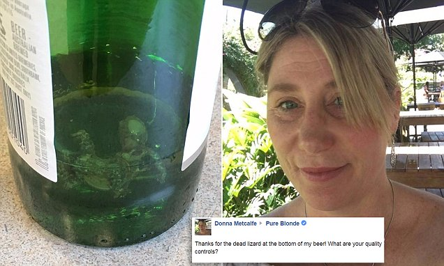 Woman Vomits After Finding Dead Gecko At The Bottom Of Her Beer photo
