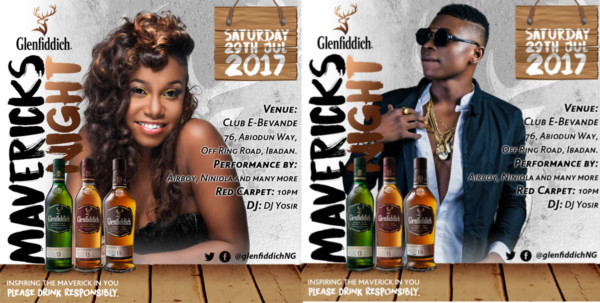 Glenfiddich Mavericks Night Live In Ibadan! Join Niniola, Airboy, Dj Yosir To Enjoy At The Best Whisky Party photo
