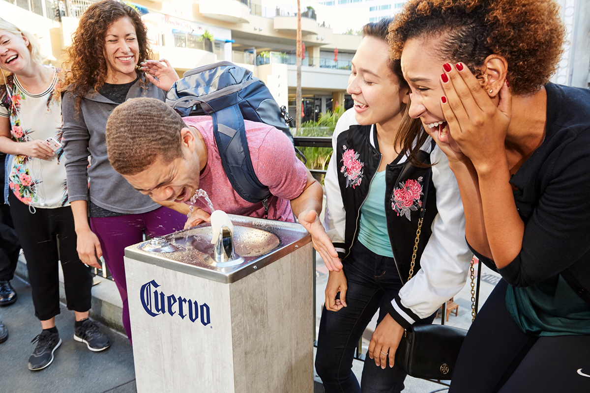 Jose Cuervo Streamed From Water Fountains In L.a. In Honor Of National Tequila Day photo