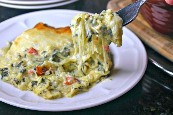 Meat-free Creamy Spinach and Spaghetti Squash Bake photo