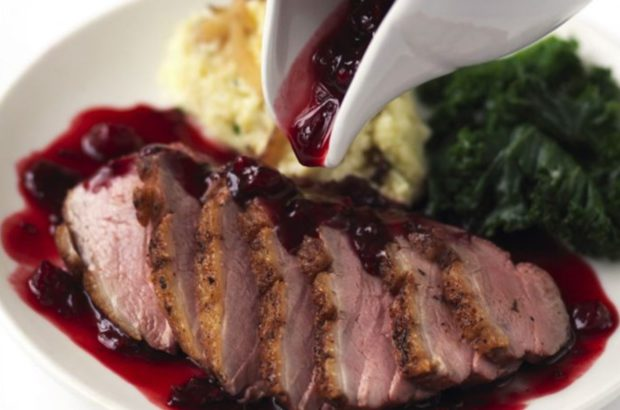 Spiced Duck with Vanilla-Celeriac-Potato-Puree and Ported-Blueberry Jus photo