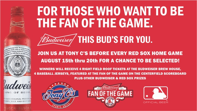 Visit Tony C?s This Red Sox Homestand For Shot At Budweiser Fan Of The Game photo