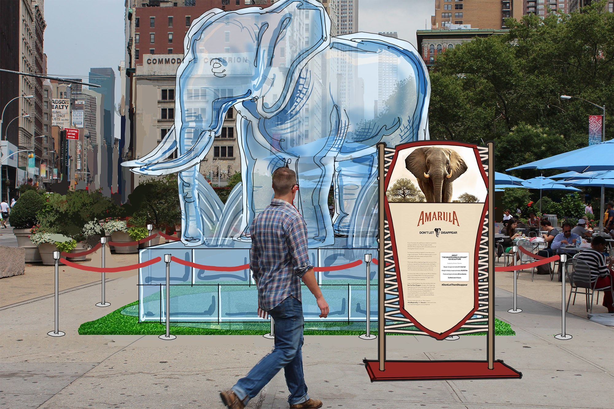 For World Elephant Day New York City Brings A Life-size Ice Sculpture To Raise Awareness photo