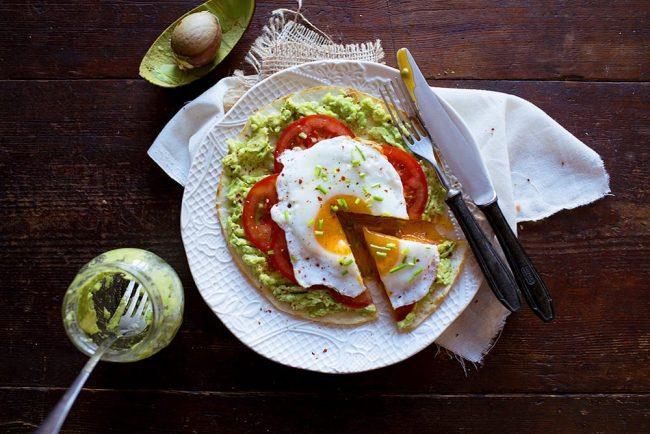 Pita with Avocado and Fried Egg Breakfast Pizza photo