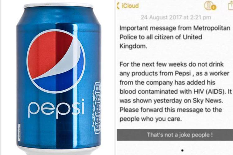 Pepsi Hit By Sick Hoax After Fake 'met Police' Statement Circulates Claiming Fizzy Drink Contain Hiv-infected Blood photo
