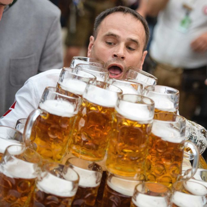 Beer-carrying World Record Holder Sets New Mark With 29 Steins photo