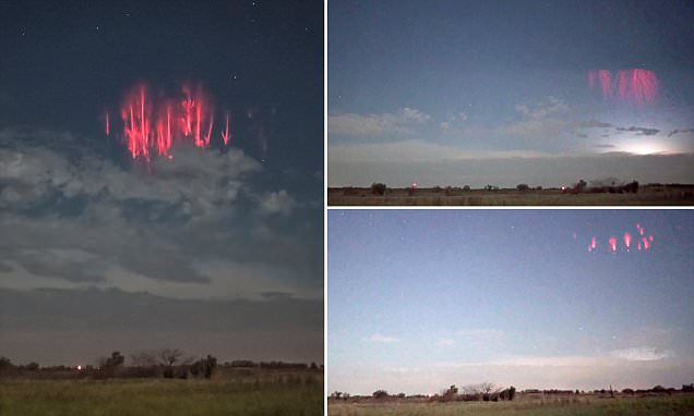 Red Sprite Lightning Storm Appears In The Sky Over Oklahoma photo