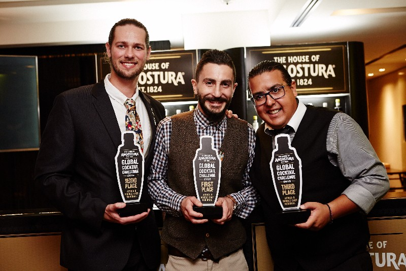 John Mansour Winner Lebanon George Hunter Second Place South Africa Third Place Dido Assaad Tanzania Lebanese Mixologist, John Mansour, Shakes His Way Into Angostura`s Global Cocktail Challenge Finals