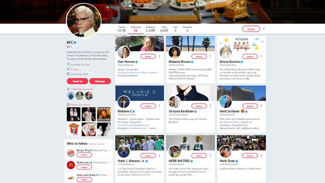 Kfc Only Follows 11 People On Twitter And You Won't Believe Who They Are photo