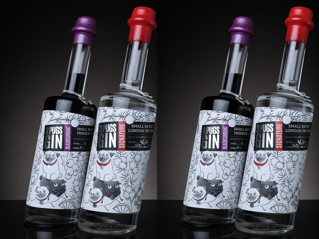 The Label Makers Create New Look Label For 3 Pugs Gin photo