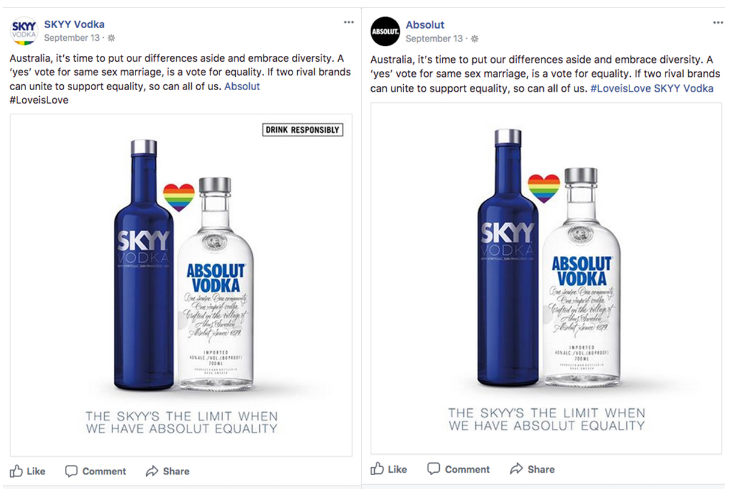 Vodka Competitors Skyy and Absolut Join Forces to Support Marriage Equality photo