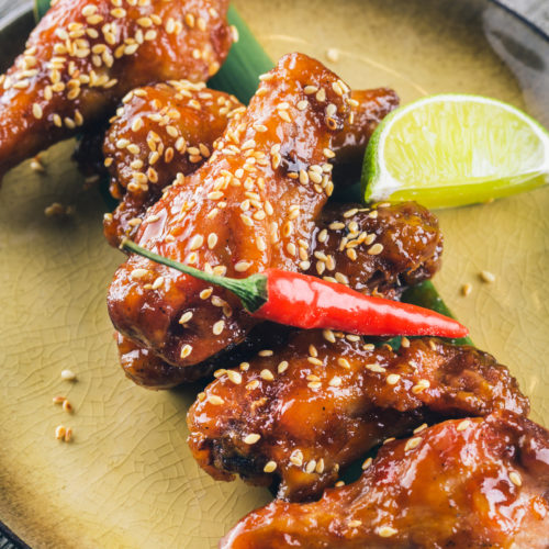 Thai BBQ Chicken Wings with Peanut Sauce and Semi-Sweet Wine photo