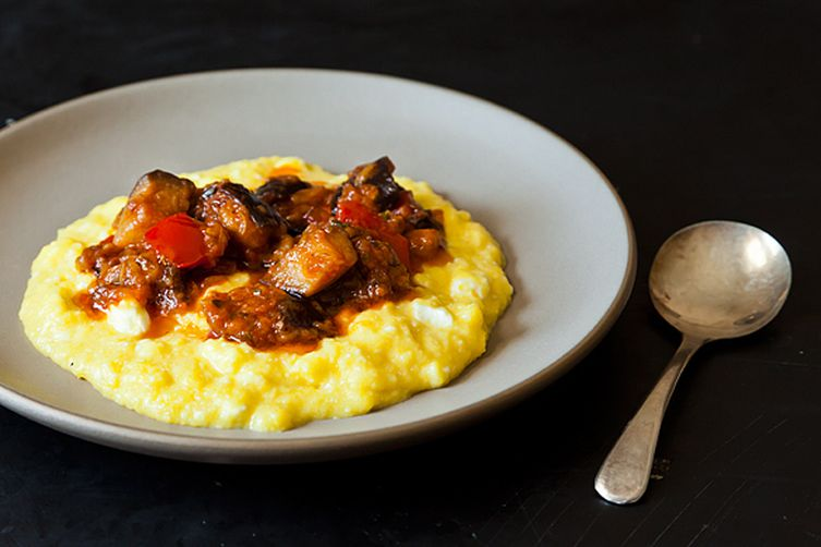 Sweet Corn Polenta with Eggplant Sauce photo
