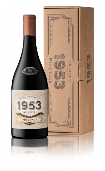 Bellevue 1953 Pinotage 2016 with Box e1510724669830 Revamped Tasting Facility and Brand New Restaurant Open at Bellevue Estate