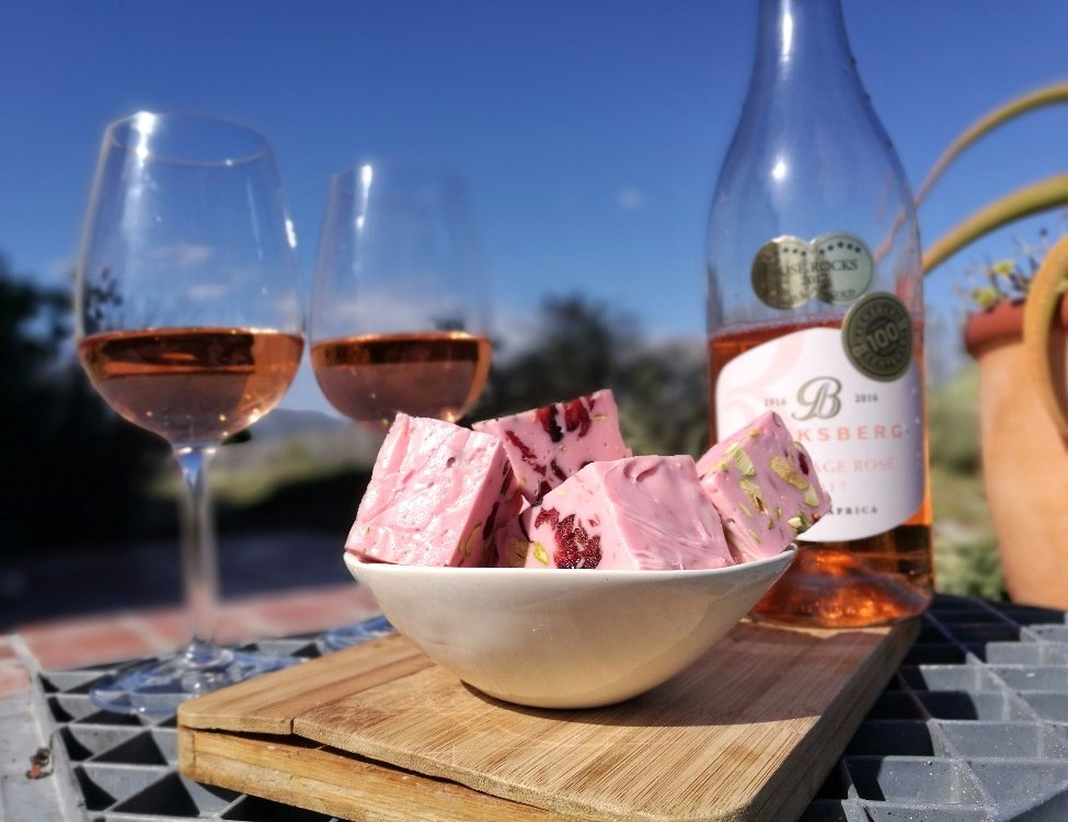 Homemade Cranberry and Pistachio Nougat Paired with Backsberg Rosé photo