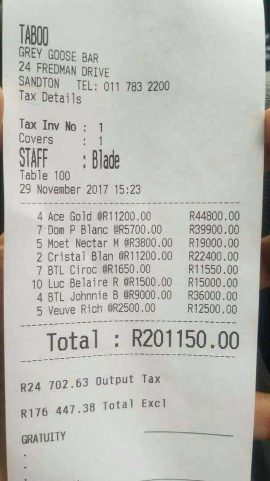 Brand boy spent R200 000 at Joburg night club photo