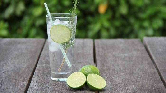 Glass With Rosemary, Lime And A Fizzy Drink photo