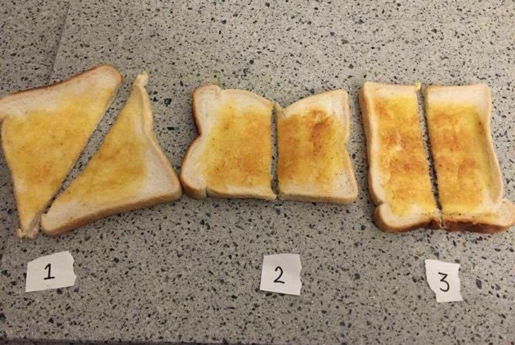A Student Night Has Started A Massive Debate Over How To Cut Toast photo