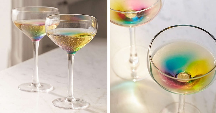 Enchanting Champagne Glasses Turn Your Bubbly Into A Swirling Rainbow photo