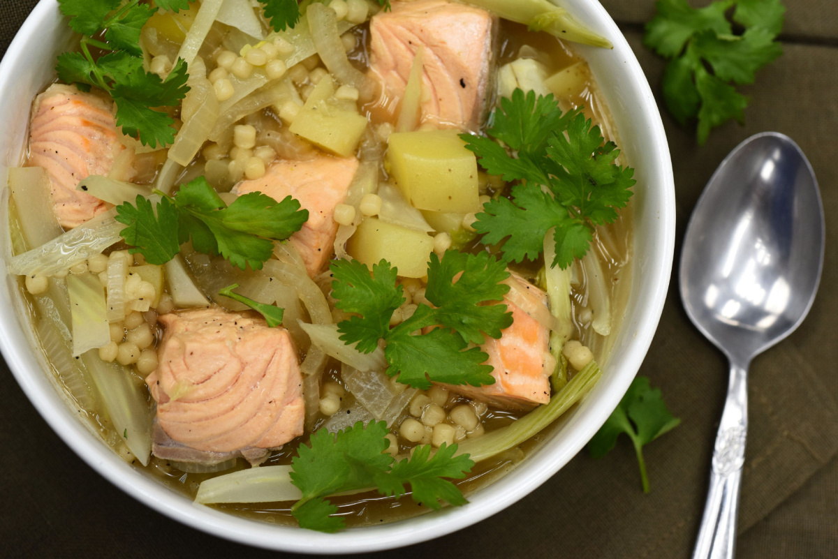 Dinner In A Flash With Peppery Couscous Soup And Salmon photo