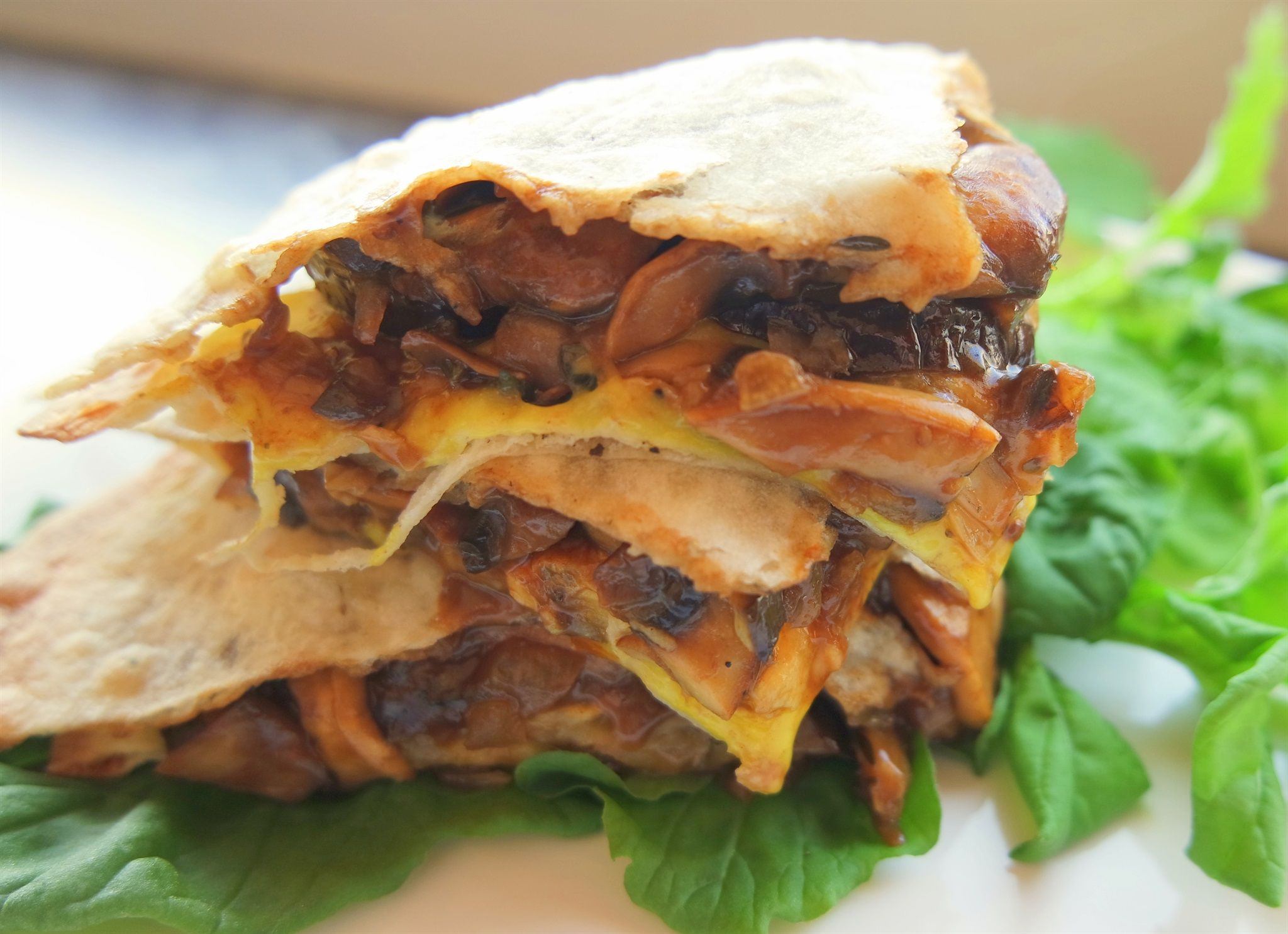 #greenmondaysa: Cheesy Quesadillas With Eggplant And Mushroom Filling photo