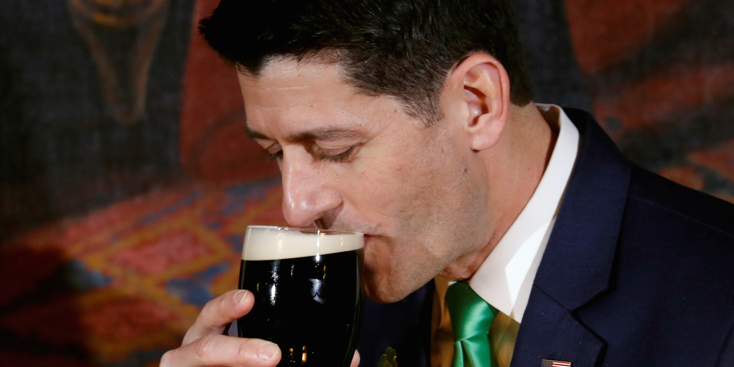Paul Ryan Jokes That Guinness Beers Taste Better In Ireland, But 'this Isn?t The Year To Bring Up Trade Issues' photo