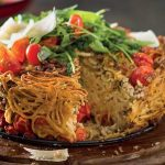 Spaghetti Cake with Roasted Zucchini and Aubergine photo