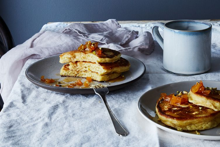 Ricotta and Brown Butter Pancakes with Maple-Bourbon Apricots photo