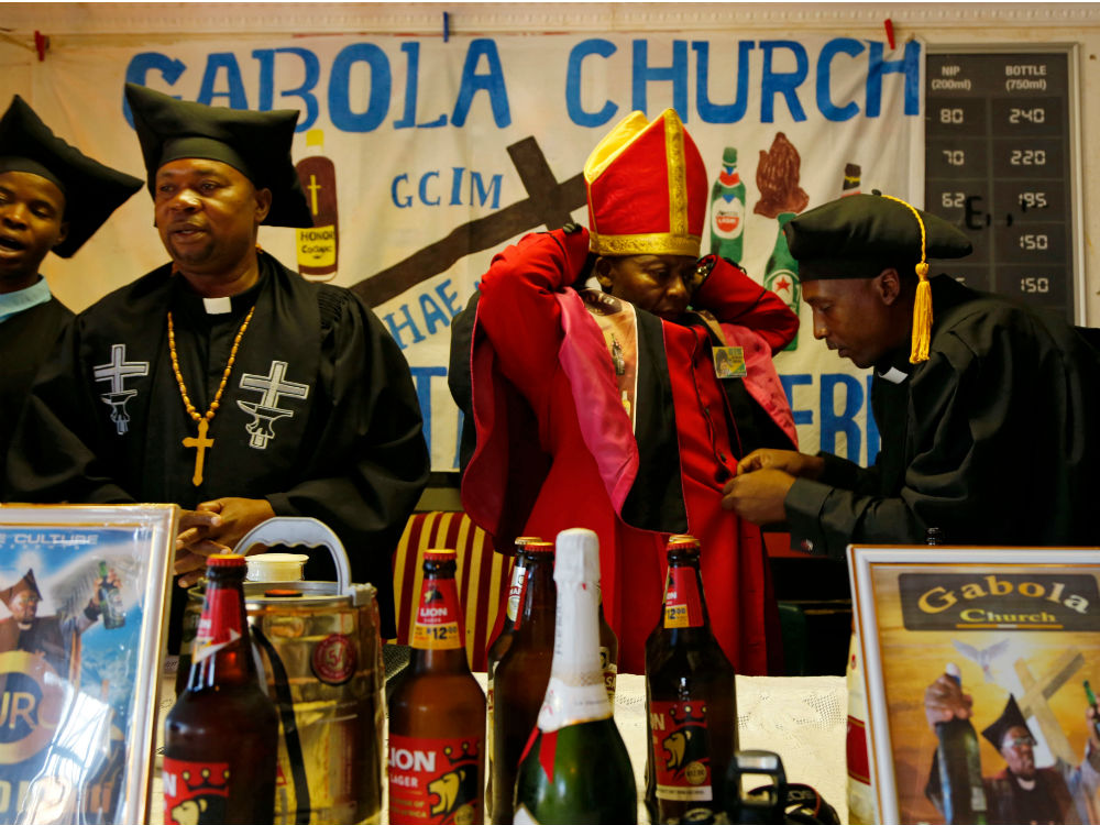 South African church celebrates alcohol by hosting its service at a tavern photo
