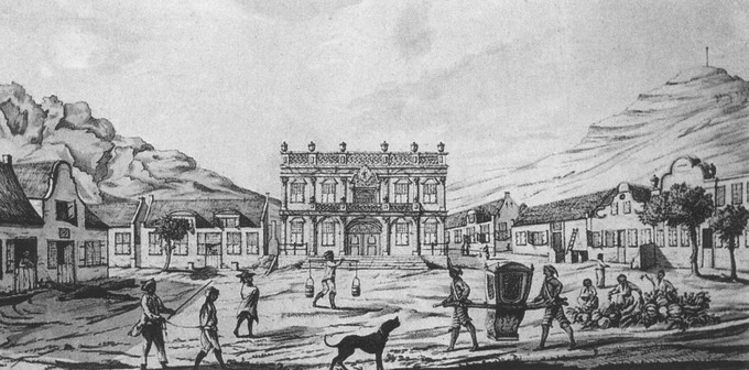 drawing of Greenmarket Square in Cape Town in 1764 The Early History Of South Africa`s Oldest Pub   Perseverance Tavern